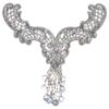 Motif Beaded 27cmx20cm V-shape with fringe Silver Aurora Borealis